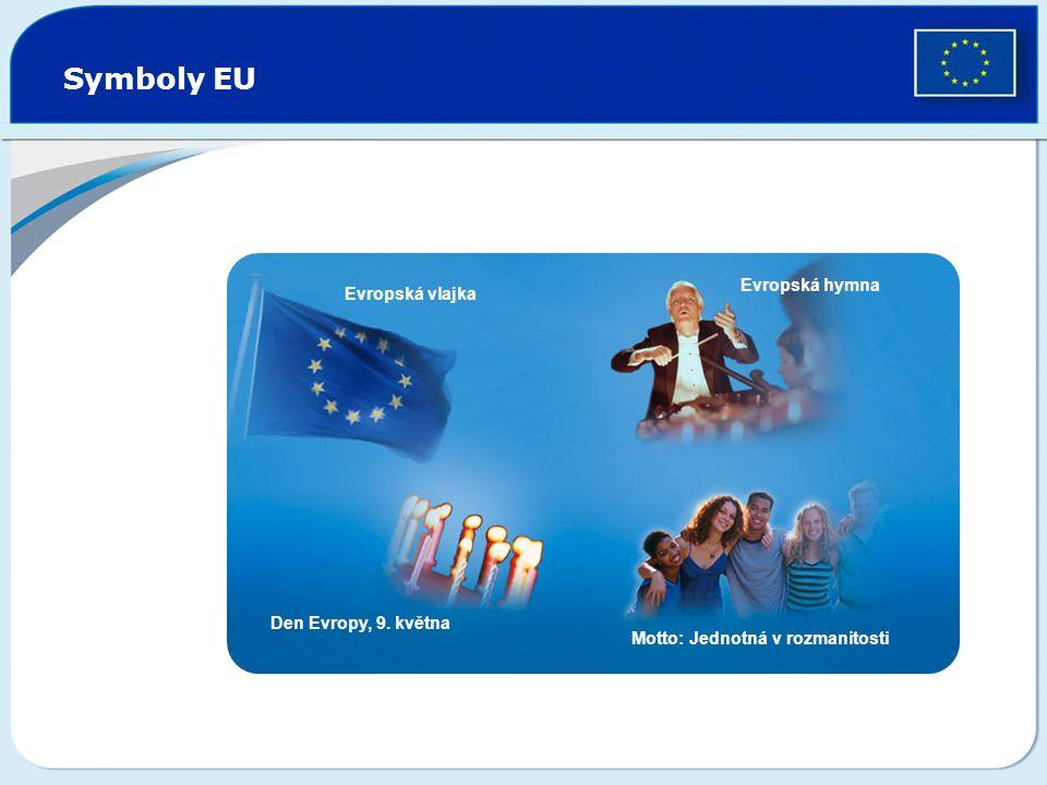 Symboly EU Evropská vlajka Evropská hymna Den Evropy, 9. května Motto: Jednotná v rozmanitosti