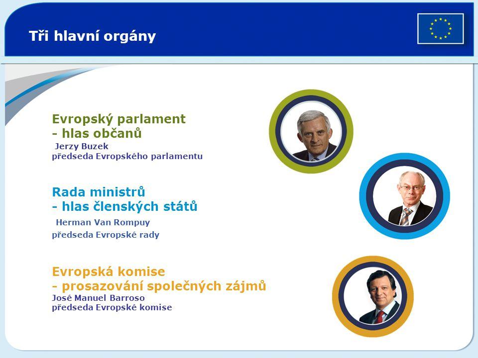 Tři hlavní orgány Evropský parlament - hlas občanů Jerzy Buzek předseda Evropského parlamentu Rada ministrů - hlas členských států Herman Van Rompuy p