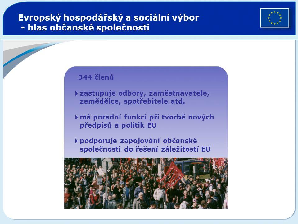 Evropský hospodářský a sociální výbor - hlas občanské společnosti  344 členů  zastupuje odbory, zaměstnavatele, zemědělce, spotřebitele atd.  má po