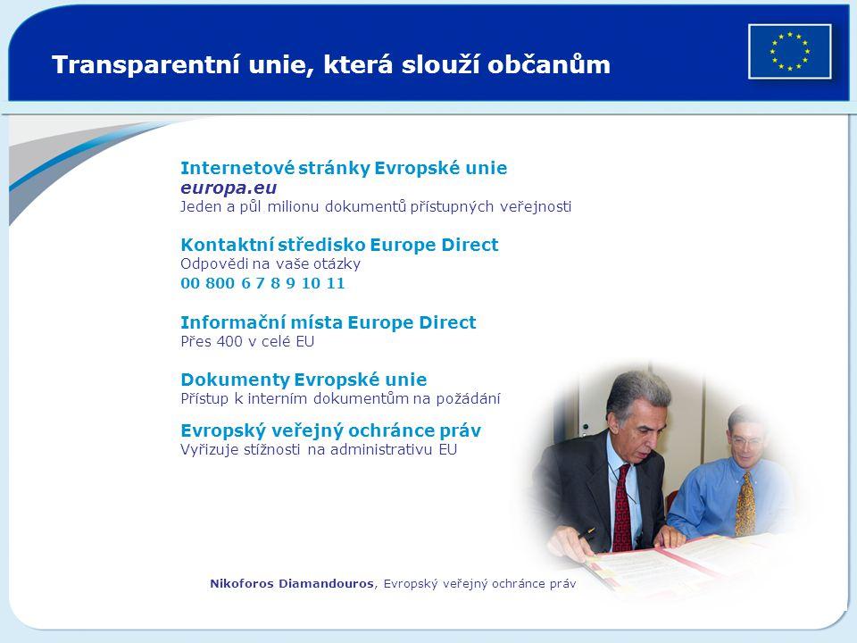 Transparentní unie, která slouží občanům Internetové stránky Evropské unie europa.eu Jeden a půl milionu dokumentů přístupných veřejnosti Kontaktní st