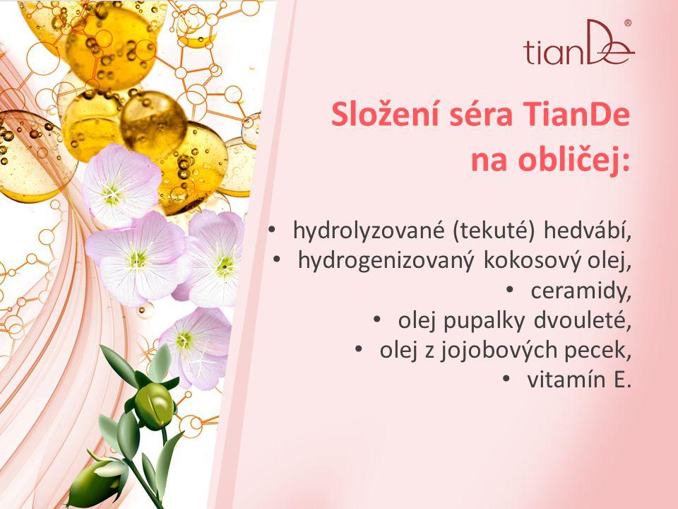 Složení séra TianDe na obličej: hydrolyzované (tekuté) hedvábí, hydrogenizovaný kokosový olej, ceramidy, olej pupalky dvouleté, olej z jojobových pecek, vitamín E.