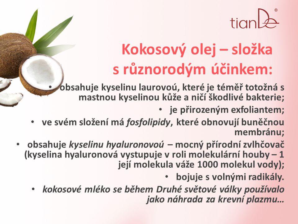 Kokosový olej – složka s různorodým účinkem: obsahuje kyselinu laurovoú, které je téměř totožná s mastnou kyselinou kůže a ničí škodlivé bakterie; je přirozeným exfoliantem; ve svém složení má fosfolipidy, které obnovují buněčnou membránu; obsahuje kyselinu hyaluronovoú – mocný přírodní zvlhčovač (kyselina hyaluronová vystupuje v roli molekulární houby – 1 její molekula váže 1000 molekul vody); bojuje s volnými radikály.