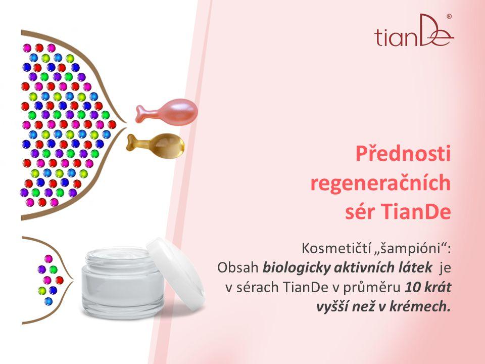 """Přednosti regeneračních sér TianDe Kosmetičtí """"šampióni : Obsah biologicky aktivních látek je v sérach TianDe v průměru 10 krát vyšší než v krémech."""