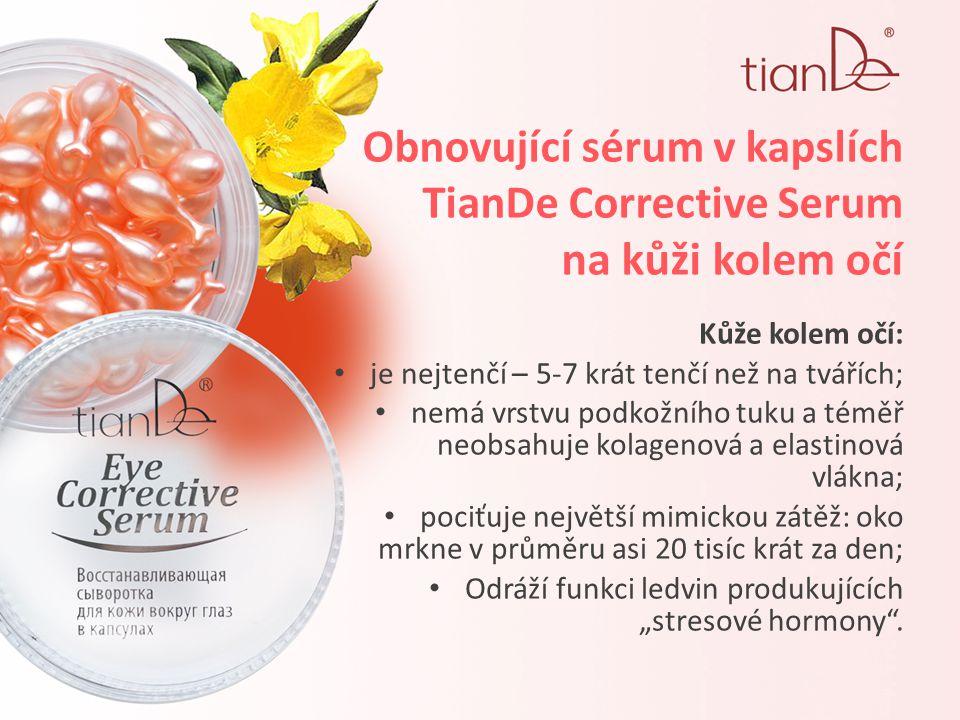 """Obnovující sérum v kapslích TianDe Corrective Serum na kůži kolem očí Kůže kolem očí: je nejtenčí – 5-7 krát tenčí než na tvářích; nemá vrstvu podkožního tuku a téměř neobsahuje kolagenová a elastinová vlákna; pociťuje největší mimickou zátěž: oko mrkne v průměru asi 20 tisíc krát za den; Odráží funkci ledvin produkujících """"stresové hormony ."""