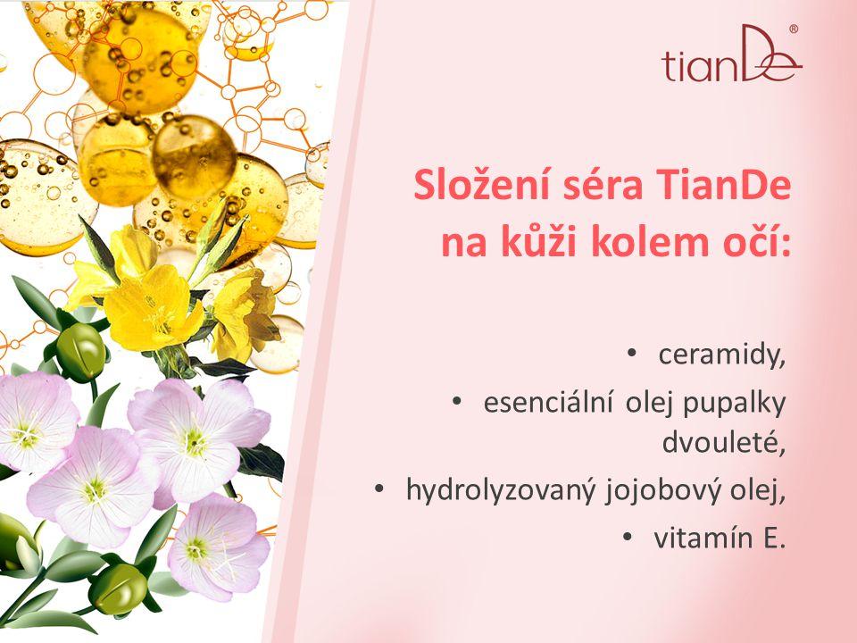 Složení séra TianDe na kůži kolem očí: ceramidy, esenciální olej pupalky dvouleté, hydrolyzovaný jojobový olej, vitamín Е.