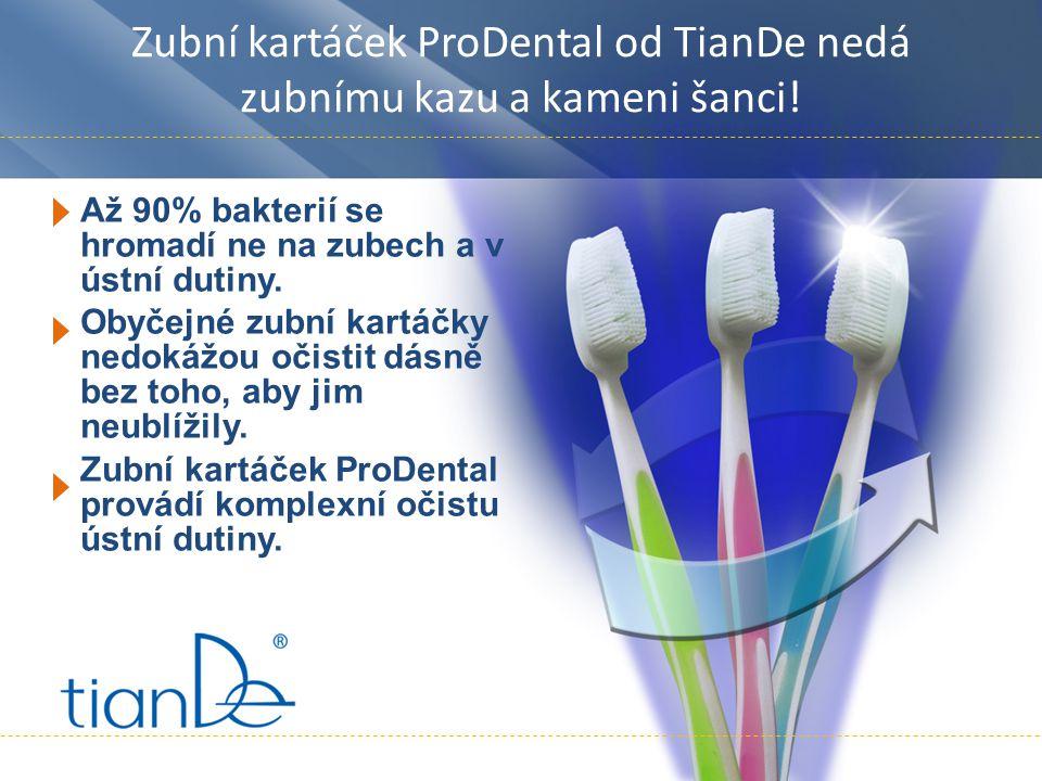 Zubní kartáček ProDental od TianDe nedá zubnímu kazu a kameni šanci! Až 90% bakterií se hromadí ne na zubech a v ústní dutiny. Obyčejné zubní kartáčky