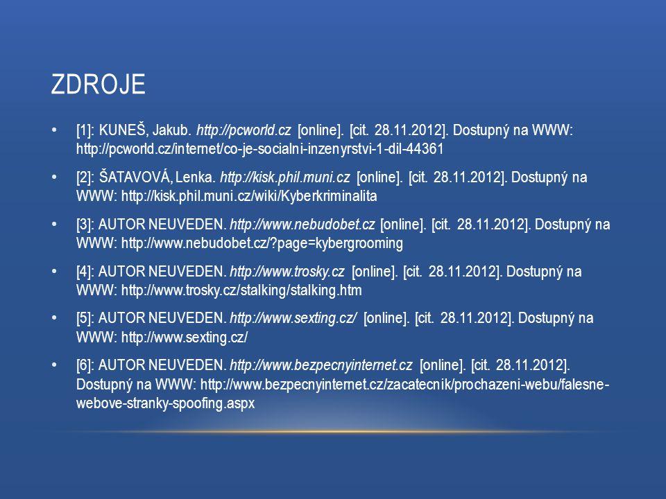 ZDROJE [1]: KUNEŠ, Jakub. http://pcworld.cz [online]. [cit. 28.11.2012]. Dostupný na WWW: http://pcworld.cz/internet/co-je-socialni-inzenyrstvi-1-dil-
