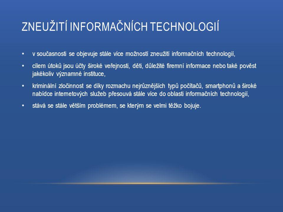 ZNEUŽITÍ INFORMAČNÍCH TECHNOLOGIÍ v současnosti se objevuje stále více možností zneužití informačních technologií, cílem útoků jsou účty široké veřejn