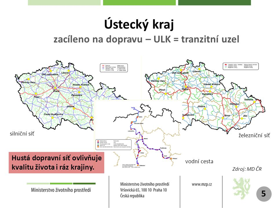 Ústecký kraj zacíleno na dopravu – ULK = tranzitní uzel 5 silniční síť železniční síť vodní cesta Zdroj: MD ČR Hustá dopravní síť ovlivňuje kvalitu života i ráz krajiny.
