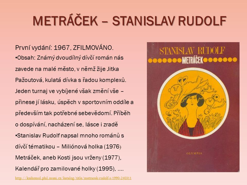 ROMÁNY - JARMILA DĚDKOVÁ UČITELKA NA KONZERVATOŘI (PED, PSY, FIL A KLAVÍR) První dívčí román autorky vyšel v roce 1975 a jmenuje se SKLENĚNÝ SVĚT Autorka píše nejenom pro dívky, ale i pro mladší děti – 1o let (Jahodníček) Další známe romány – MARTINA (1979) MEDOVÝ ČAS (1998) POPELČIN VALČÍK (2006) PRALINKA (2005) Čtenářky se ocitají právě na konzervatoři a prožívají s hrdinkami jejich úspěchy i neúspěchy.