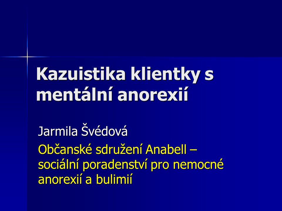 Kazuistika klientky s mentální anorexií Jarmila Švédová Občanské sdružení Anabell – sociální poradenství pro nemocné anorexií a bulimií