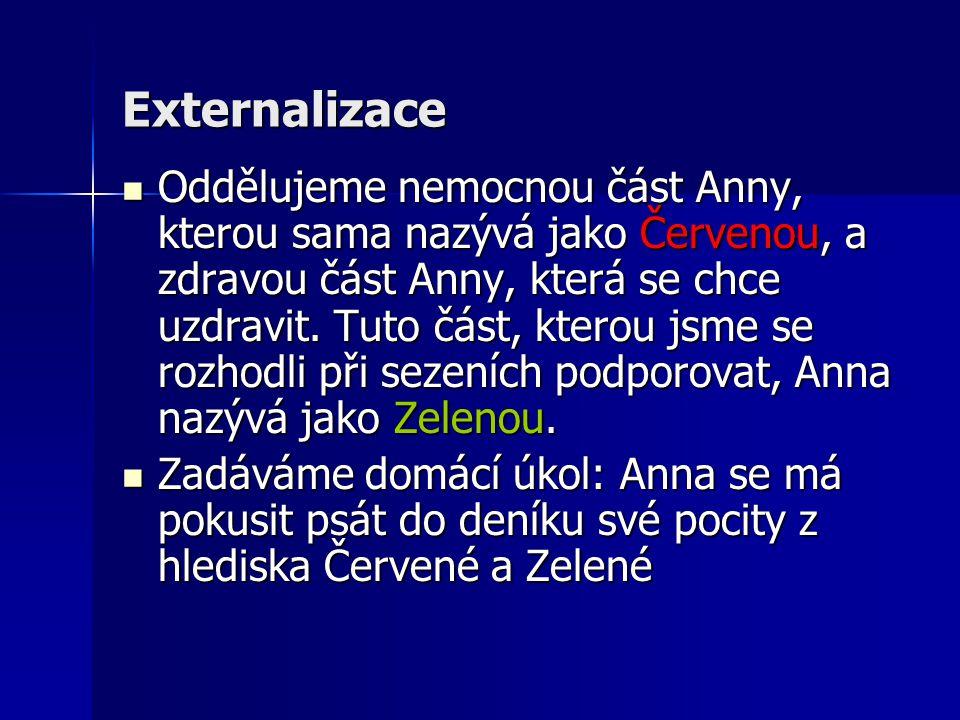 Externalizace Oddělujeme nemocnou část Anny, kterou sama nazývá jako Červenou, a zdravou část Anny, která se chce uzdravit. Tuto část, kterou jsme se