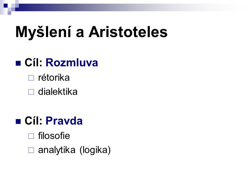 Myšlení a Aristoteles Cíl: Rozmluva  rétorika  dialektika Cíl: Pravda  filosofie  analytika (logika)