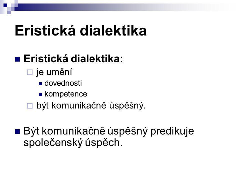 Eristická dialektika Eristická dialektika:  je umění dovednosti kompetence  být komunikačně úspěšný. Být komunikačně úspěšný predikuje společenský ú