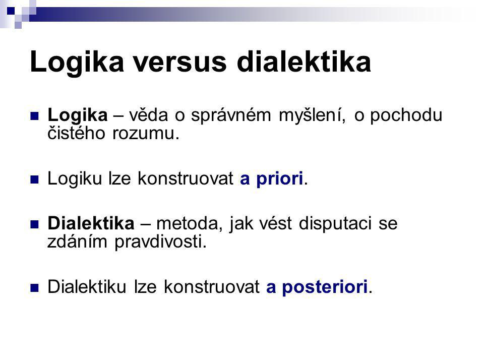 Logika versus dialektika Logika – věda o správném myšlení, o pochodu čistého rozumu. Logiku lze konstruovat a priori. Dialektika – metoda, jak vést di