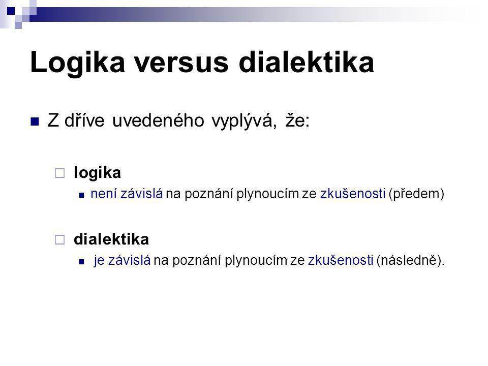 Logika versus dialektika Z dříve uvedeného vyplývá, že:  logika není závislá na poznání plynoucím ze zkušenosti (předem)  dialektika je závislá na p
