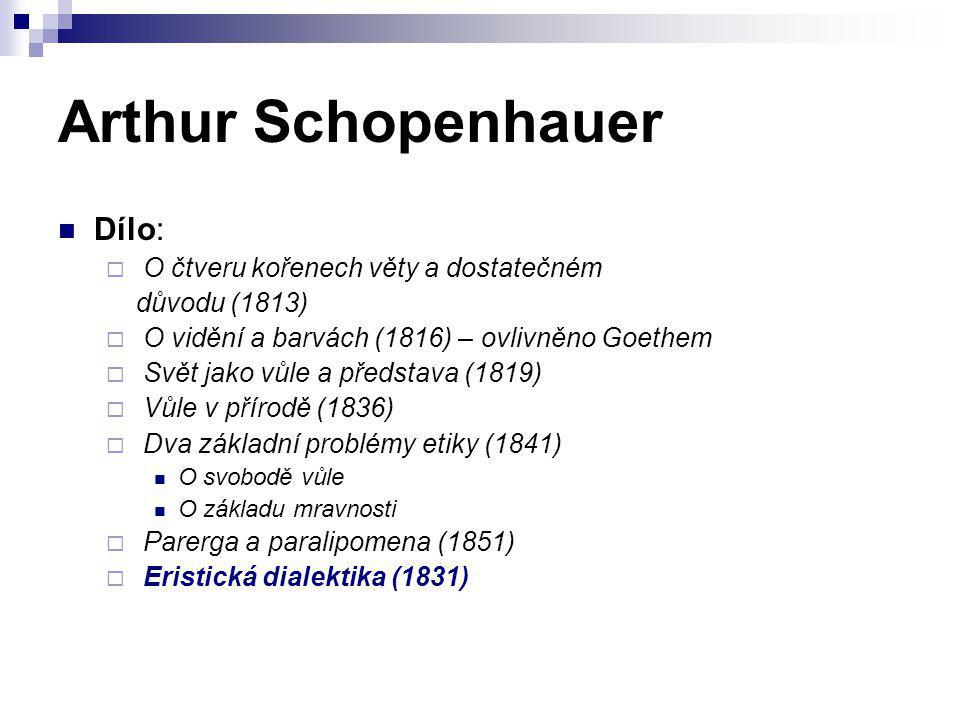 Arthur Schopenhauer Dílo:  O čtveru kořenech věty a dostatečném důvodu (1813)  O vidění a barvách (1816) – ovlivněno Goethem  Svět jako vůle a před