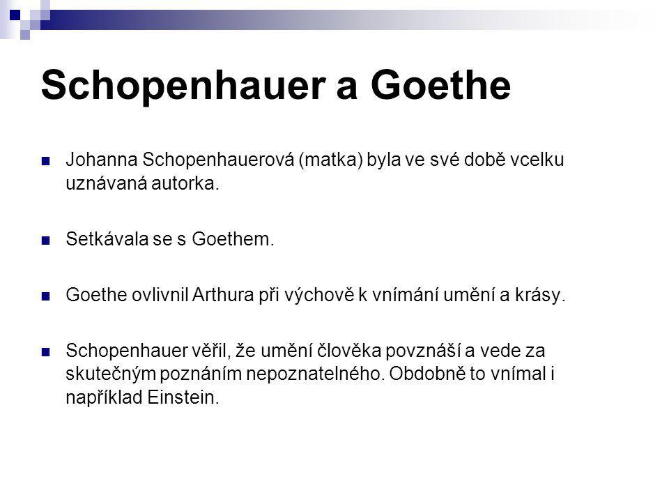 Schopenhauer a Goethe Johanna Schopenhauerová (matka) byla ve své době vcelku uznávaná autorka. Setkávala se s Goethem. Goethe ovlivnil Arthura při vý