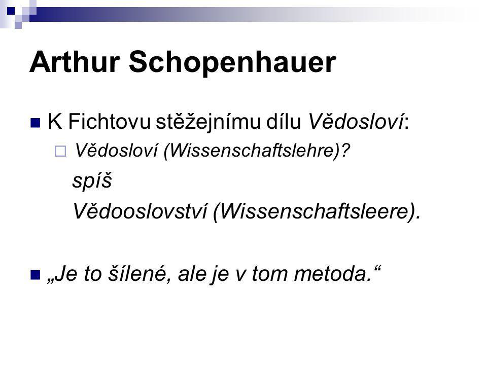 """Arthur Schopenhauer K Fichtovu stěžejnímu dílu Vědosloví:  Vědosloví (Wissenschaftslehre)? spíš Vědooslovství (Wissenschaftsleere). """"Je to šílené, al"""
