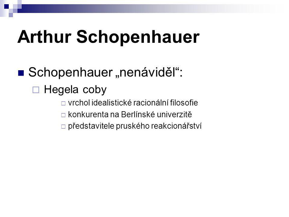 """Arthur Schopenhauer Schopenhauer """"nenáviděl"""":  Hegela coby  vrchol idealistické racionální filosofie  konkurenta na Berlínské univerzitě  představ"""