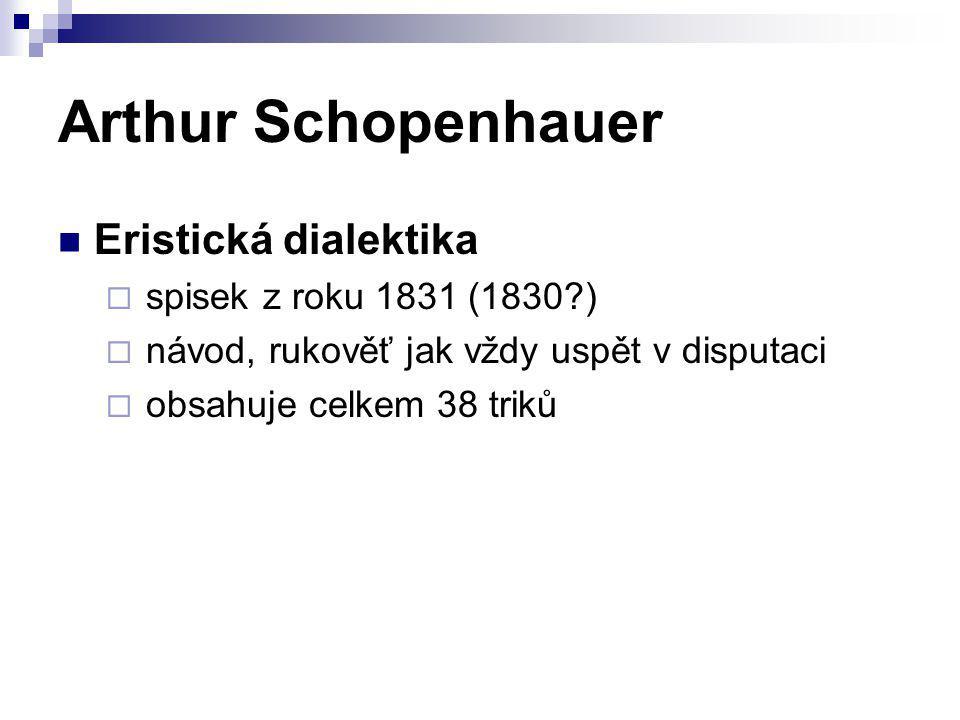 Arthur Schopenhauer Eristická dialektika  spisek z roku 1831 (1830?)  návod, rukověť jak vždy uspět v disputaci  obsahuje celkem 38 triků