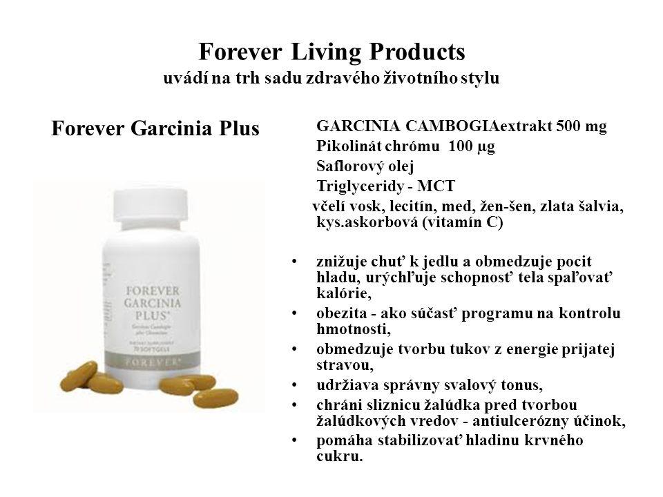 Forever Living Products uvádí na trh sadu zdravého životního stylu Forever Garcinia Plus GARCINIA CAMBOGIAextrakt 500 mg Pikolinát chrómu 100 µg Saflo
