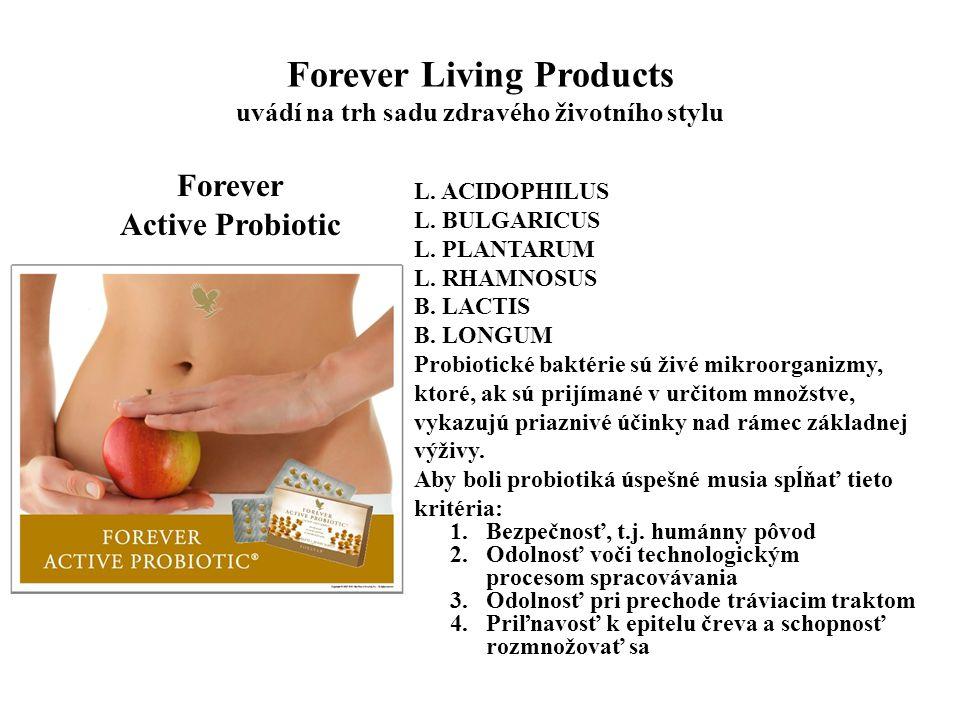 Forever Living Products uvádí na trh sadu zdravého životního stylu Forever Active Probiotic L. ACIDOPHILUS L. BULGARICUS L. PLANTARUM L. RHAMNOSUS B.