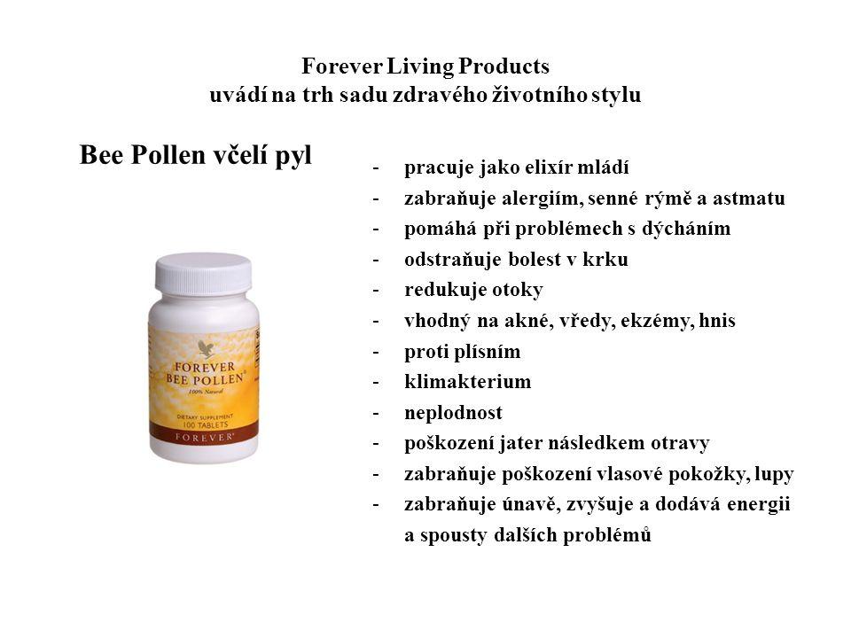 Forever Living Products uvádí na trh sadu zdravého životního stylu -pracuje jako elixír mládí -zabraňuje alergiím, senné rýmě a astmatu -pomáhá při pr