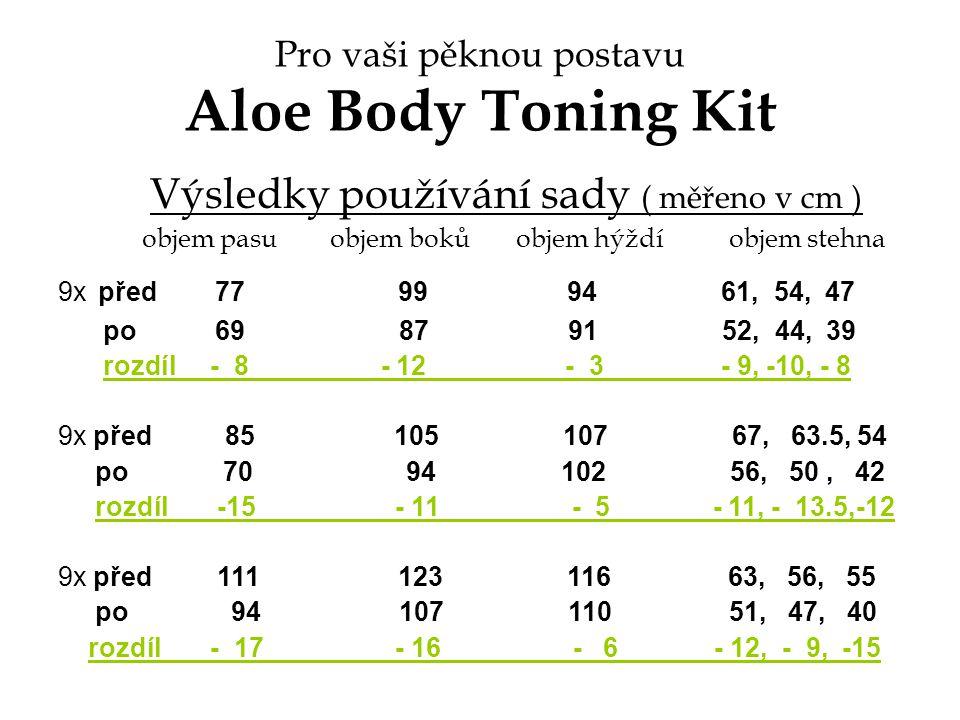 Pro vaši pěknou postavu Aloe Body Toning Kit Výsledky používání sady ( měřeno v cm ) objem pasu objem boků objem hýždí objem stehna 9x před 77 99 94 6