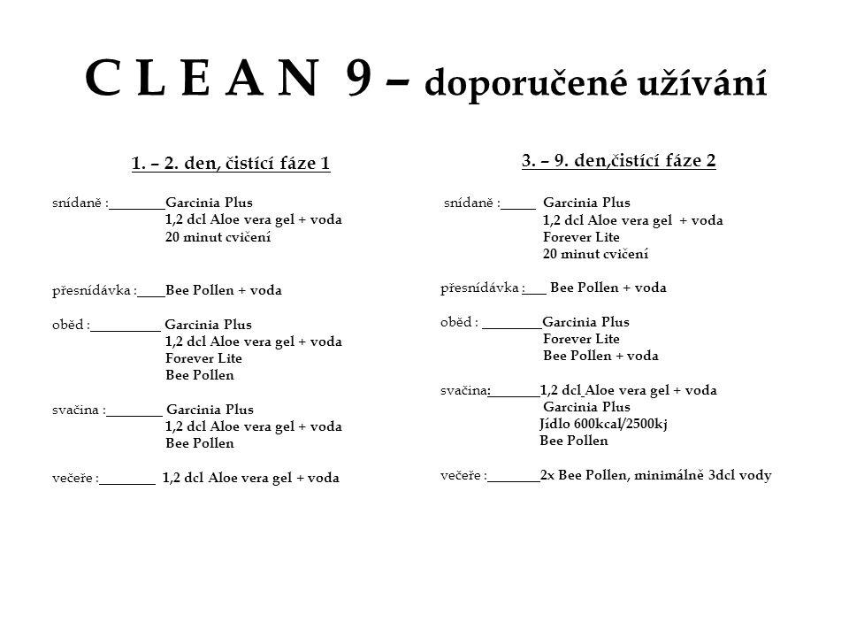 C L E A N 9 – doporučené užívání 1. – 2. den, čistící fáze 1 snídaně : Garcinia Plus 1,2 dcl Aloe vera gel + voda 20 minut cvičení přesnídávka : Bee P