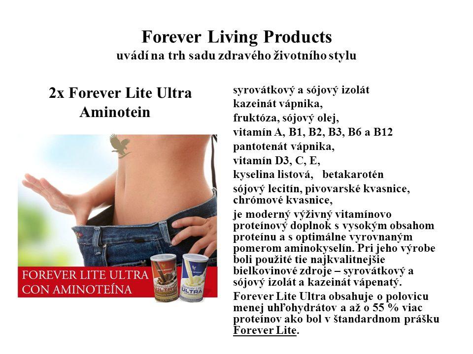 Forever Living Products uvádí na trh sadu zdravého životního stylu 2x Forever Lite Ultra Aminotein Pacienti s rôznymi poruchami zdravia vrátane nechutenstva, kachexia, depresie, rekonvalescencia, súčasť liečebnej výživy pri infekčnej žltačke a cirhóze pečene, bielkovinovo modifikovaná diéta, enterálna výživa (sondou) pacientov príliš chorých na to, aby jedli normálnu stravu, starí ľudia s poruchami výživy, doplnok výživy pre tehotné ženy a kojace mamičky, športovci podávajúci vysoký fyzický výkon počas tréningu alebo súťažného zápolenia, fyzicky ťažko pracujúce osoby, obezita - ako súčasť programu na zníženie hmotnosti, ženy v domácnosti alebo zamestnané osoby, ktoré sa nepravidelne stravujú deti, ktoré majú problémy s jedením.