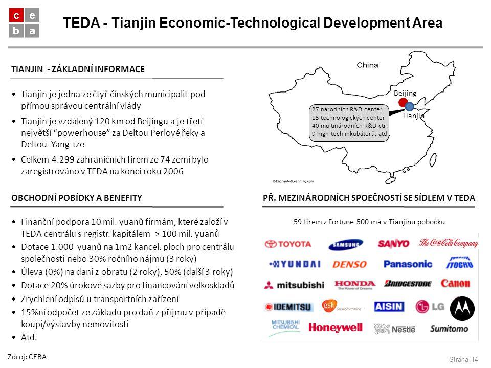 TEDA - Tianjin Economic-Technological Development Area Strana 14 TIANJIN - ZÁKLADNÍ INFORMACE Tianjin je jedna ze čtyř čínských municipalit pod přímou