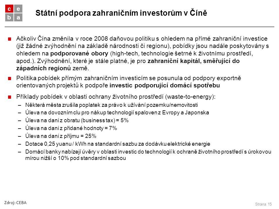 Státní podpora zahraničním investorům v Číně Strana 15 ■ Ačkoliv Čína změnila v roce 2008 daňovou politiku s ohledem na přímé zahraniční investice (ji