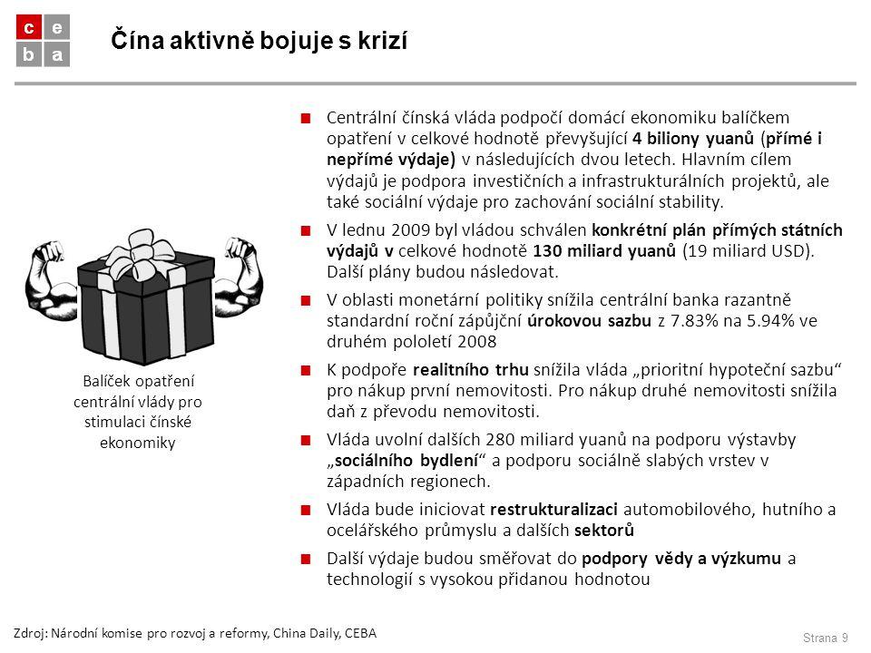 Čína aktivně bojuje s krizí Strana 9 ■ Centrální čínská vláda podpočí domácí ekonomiku balíčkem opatření v celkové hodnotě převyšující 4 biliony yuanů