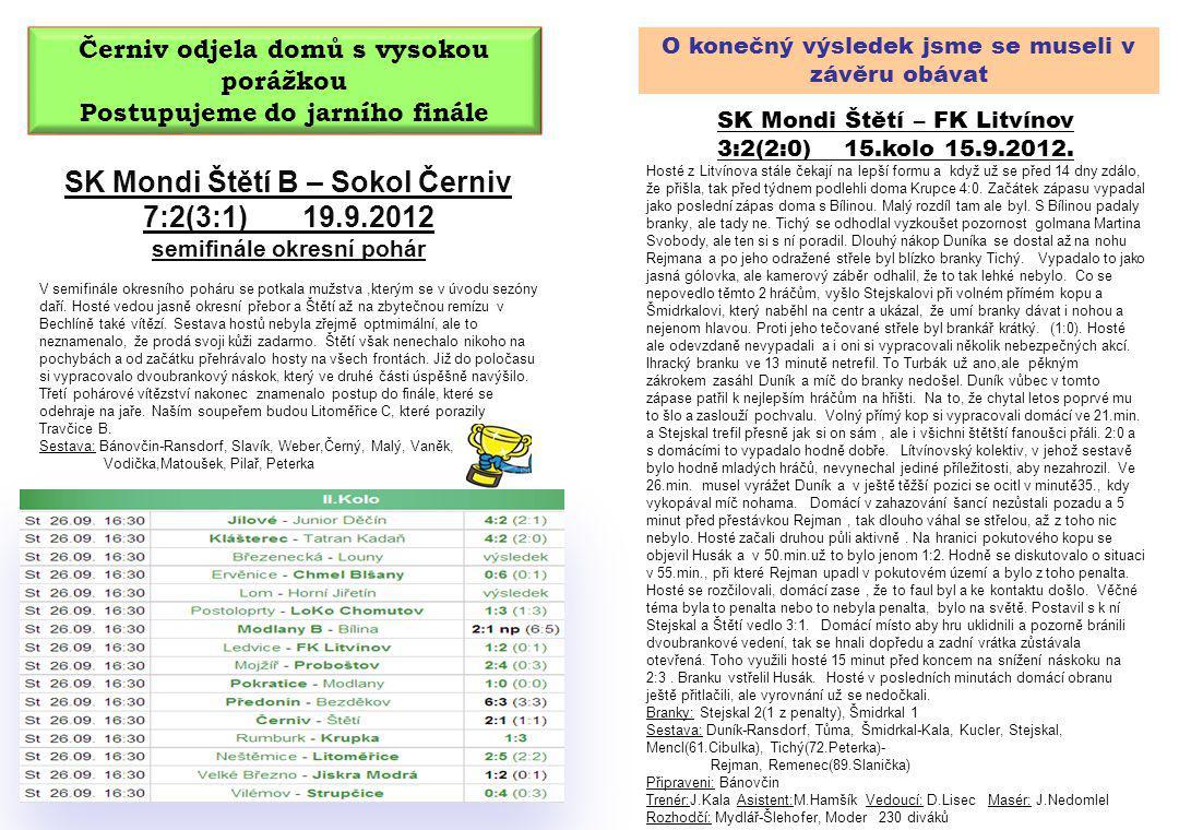 O konečný výsledek jsme se museli v závěru obávat SK Mondi Štětí – FK Litvínov 3:2(2:0) 15.kolo 15.9.2012. Hosté z Litvínova stále čekají na lepší for