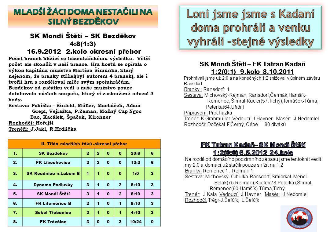 SK Mondi Št ě tí – FK Tatran Kada ň 1:2(0:1) 9.kolo 8.10.2011 Prohrávali jsme už 2:0 a na konečných 1:2 snižoval v úplném závěru Ransdorf Branky : Ran