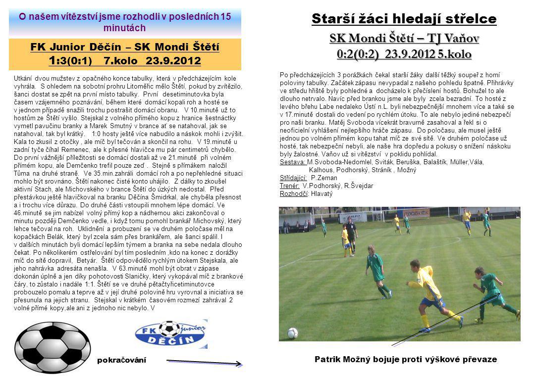 FK Junior Děčín – SK Mondi Štětí 1 :3(0:1) 7.kolo 23.9.2012 Utkání dvou mužstev z opačného konce tabulky, která v předcházejícím kole vyhrála. S ohled