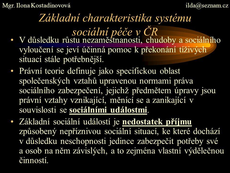 Základní charakteristika systému sociální péče v ČR V důsledku růstu nezaměstnanosti, chudoby a sociálního vyloučení se jeví účinná pomoc k překonání