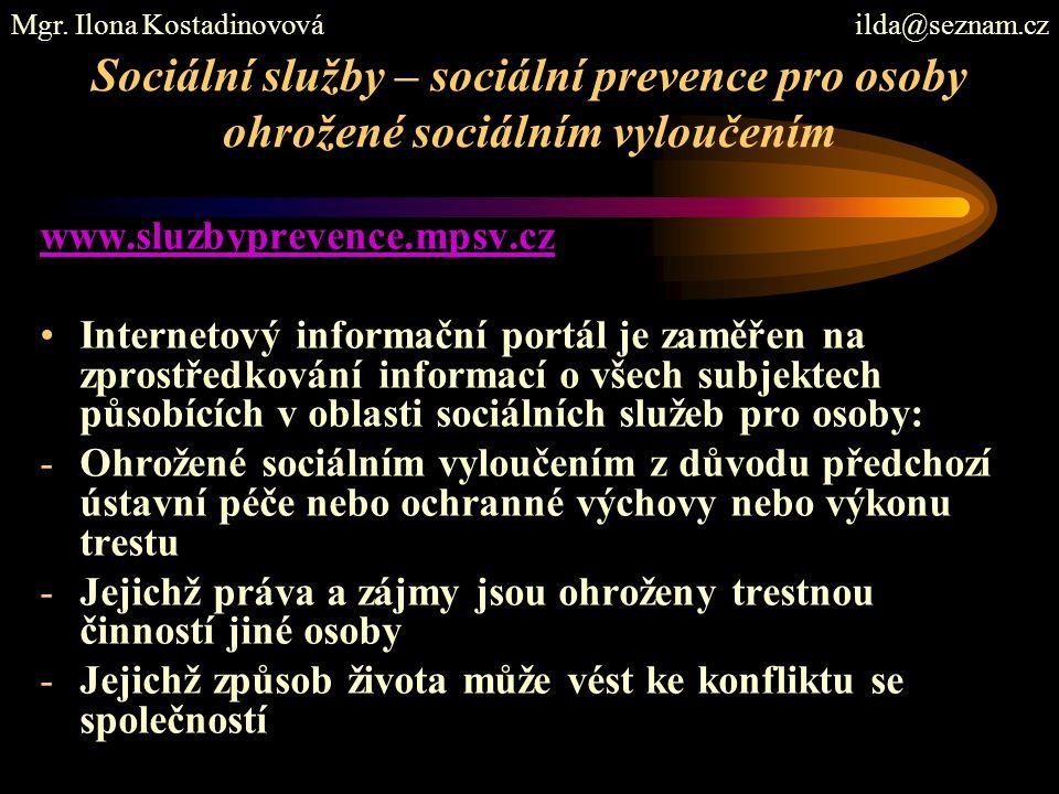 Sociální služby – sociální prevence pro osoby ohrožené sociálním vyloučením www.sluzbyprevence.mpsv.cz Internetový informační portál je zaměřen na zpr