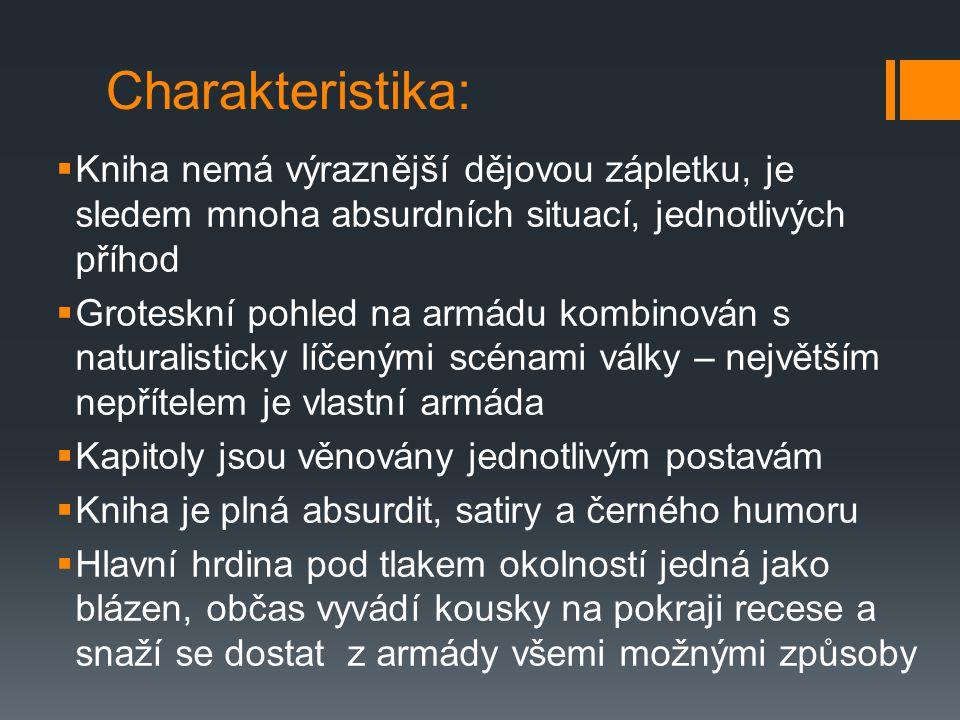 """""""Hlava XXII  Synonymem """"vojenské hlouposti , absurdity války  Název vychází z vojenského paragrafu XXII, který říká, že voják může požádat o propuštění z armády pouze tehdy, je-li blázen, ale zároveň říká, že uvědomuje-li si, že je blázen, nemůže být bláznem a tím pádem ani propuštěn … ABSURDITA"""