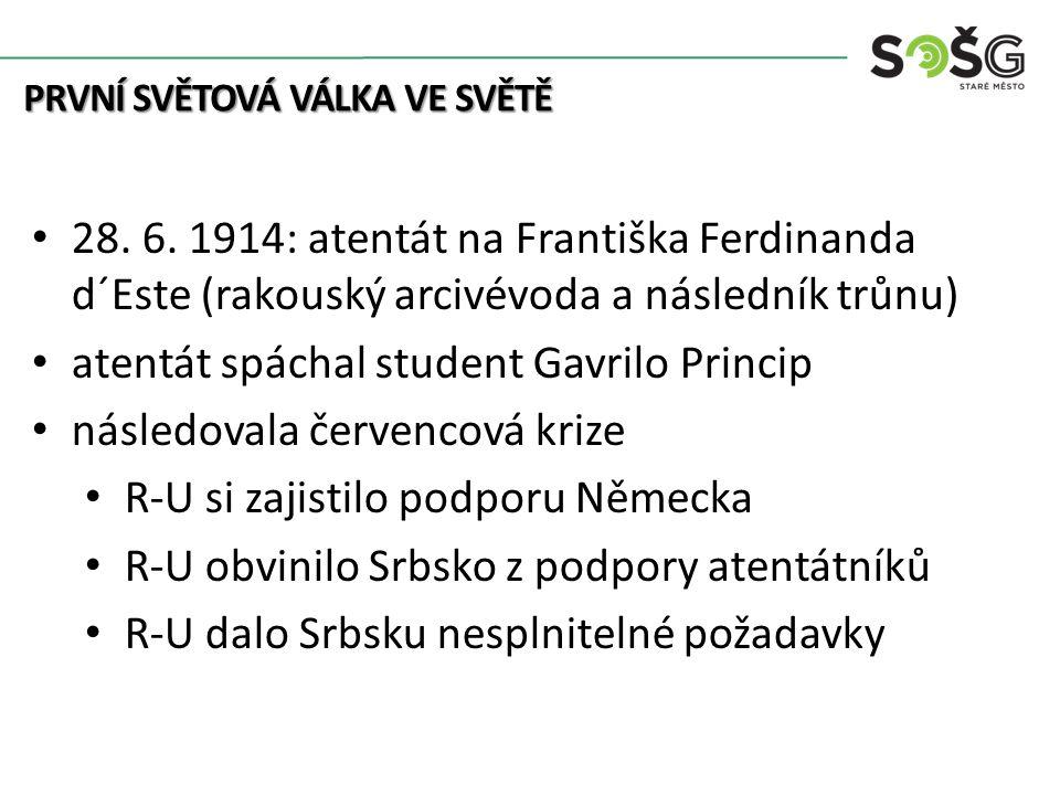 PRVNÍ SVĚTOVÁ VÁLKA VE SVĚTĚ 28. 6.