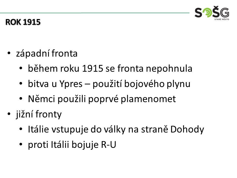 ROK 1915 západní fronta během roku 1915 se fronta nepohnula bitva u Ypres – použití bojového plynu Němci použili poprvé plamenomet jižní fronty Itálie vstupuje do války na straně Dohody proti Itálii bojuje R-U