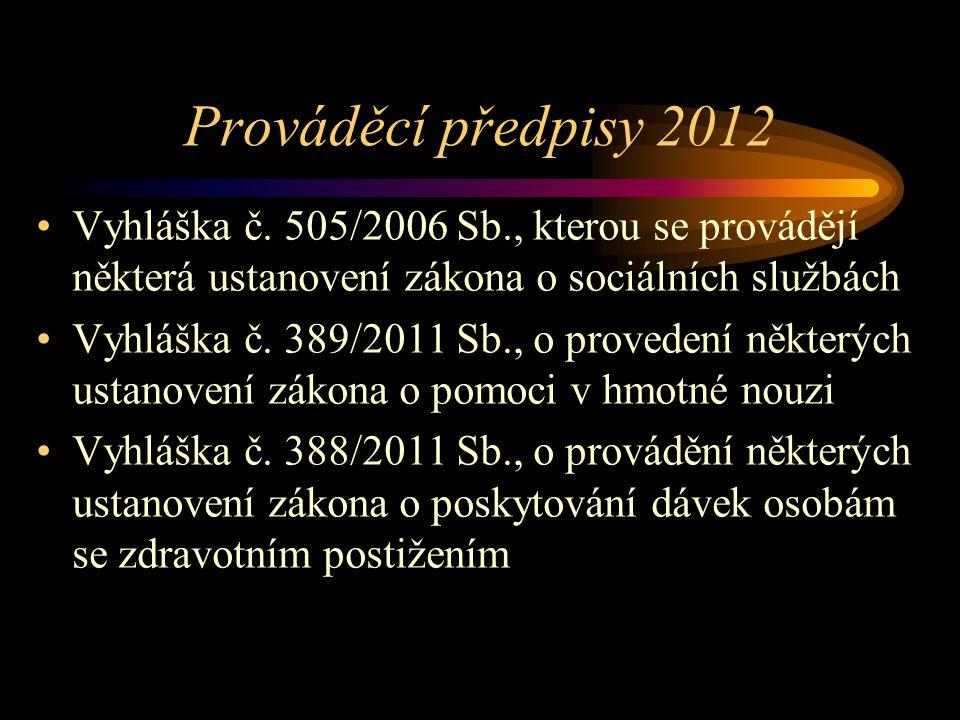 Prováděcí předpisy 2012 Vyhláška č. 505/2006 Sb., kterou se provádějí některá ustanovení zákona o sociálních službách Vyhláška č. 389/2011 Sb., o prov