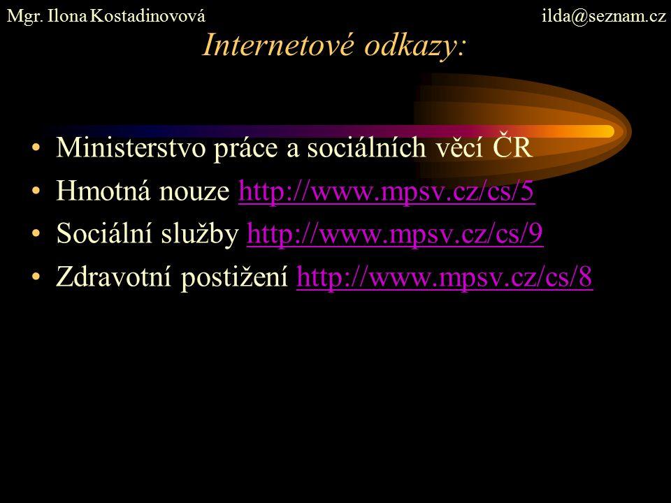 Internetové odkazy: Ministerstvo práce a sociálních věcí ČR Hmotná nouze http://www.mpsv.cz/cs/5http://www.mpsv.cz/cs/5 Sociální služby http://www.mps