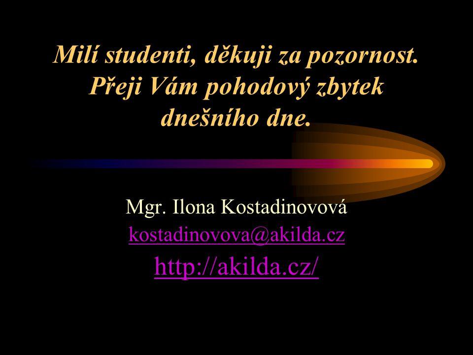 Milí studenti, děkuji za pozornost. Přeji Vám pohodový zbytek dnešního dne. Mgr. Ilona Kostadinovová kostadinovova@akilda.cz http://akilda.cz/