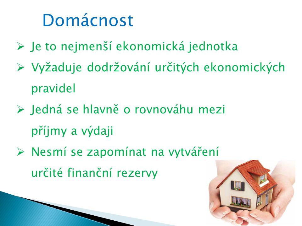 Domácnost  Je to nejmenší ekonomická jednotka  Vyžaduje dodržování určitých ekonomických pravidel  Jedná se hlavně o rovnováhu mezi příjmy a výdaji  Nesmí se zapomínat na vytváření určité finanční rezervy