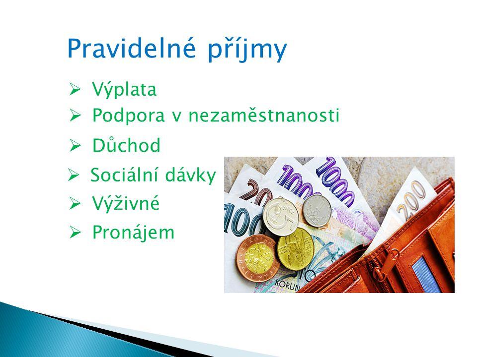 Pravidelné příjmy  Výplata  Podpora v nezaměstnanosti  Důchod  Sociální dávky  Výživné  Pronájem