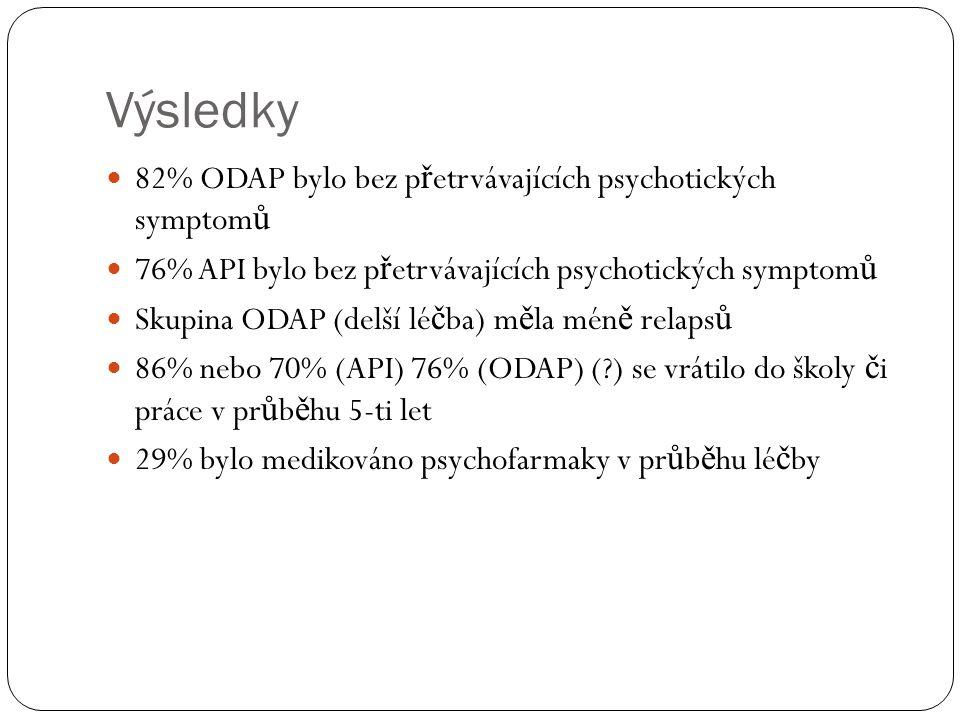 Výsledky 82% ODAP bylo bez p ř etrvávajících psychotických symptom ů 76% API bylo bez p ř etrvávajících psychotických symptom ů Skupina ODAP (delší lé č ba) m ě la mén ě relaps ů 86% nebo 70% (API) 76% (ODAP) ( ) se vrátilo do školy č i práce v pr ů b ě hu 5-ti let 29% bylo medikováno psychofarmaky v pr ů b ě hu lé č by