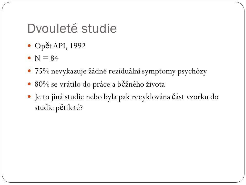Dvouleté studie Op ě t API, 1992 N = 84 75% nevykazuje žádné reziduální symptomy psychózy 80% se vrátilo do práce a b ě žného života Je to jiná studie nebo byla pak recyklována č ást vzorku do studie p ě tileté