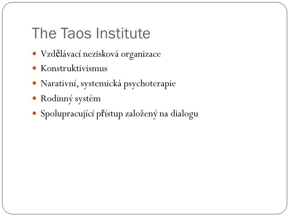 The Taos Institute Vzd ě lávací nezisková organizace Konstruktivismus Narativní, systemická psychoterapie Rodinný systém Spolupracující p ř ístup založený na dialogu